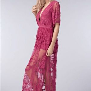 Cranberry V deep Maxi romper dress